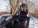 Amateurvideo Rauchen in langen glänzenden Jacke von bondageangel